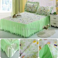 2015 New Korean Lace Bedskirt 100% Cotton Frash Green Bedspread Mattress Cover Bedding Set For Twin Full Queen King Size(China (Mainland))