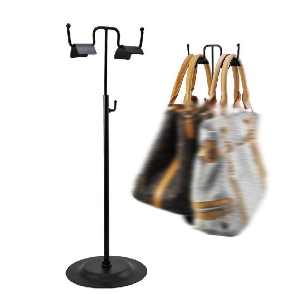 Adjustable Double Side Black Handbag Display Stand Metal Women Bag Handbag Display Rack Holder(China (Mainland))