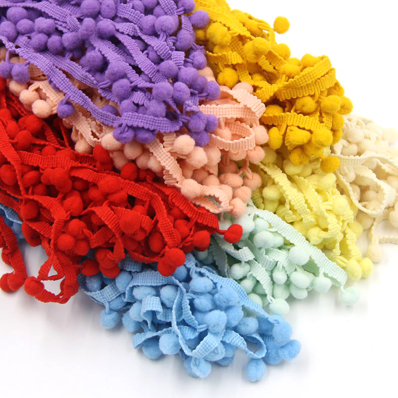 Hot Sale 5Yards/Lot 17 Colors 10MM Pom Pom Trim Ball Fringe Ribbon DIY Sewing Accessory Lace For Home Party Decoration