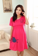 Rose Red Hello Kitty Maternity dresses for summer pregnant women clothes dress pregnancy dresses breastfeeding clothes