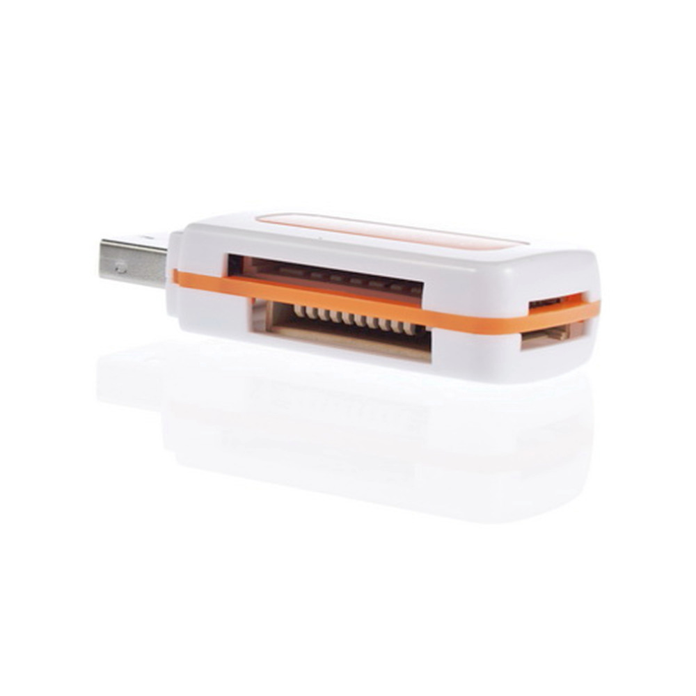 1pcs USB 2.0 4 in 1 Memory Multi Card Reader for M2 SD SDHC DV Micro SD TF Card Promotion Orange(China (Mainland))