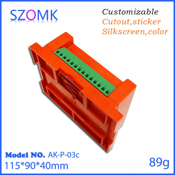 Orange color  plastic box for din rials 115x90x40mm abs case electronics used in industrial control housing <br><br>Aliexpress