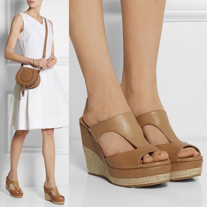 2015 New Designer Genuine Leather Women Pumps Peep Toe Gladiator Sandals Women Flip Flops Cut-outs Slip-On Wedge Sandals