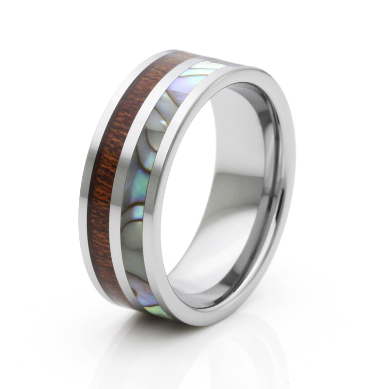 Very popular tungsten ring high quality men band with wood and shell inlay(China (Mainland))