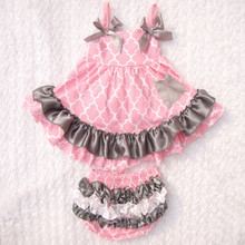Four Clover Pink Grey baby Bloomer Set ,Ruffle Bum swing top bloomer set for kids ,baby swing set