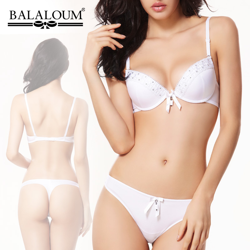 2014 New arrival white bra women's balaloum diamond decoration push up side gathering seamless set 32B 34B 34C 36B 36C 38B 38C(China (Mainland))