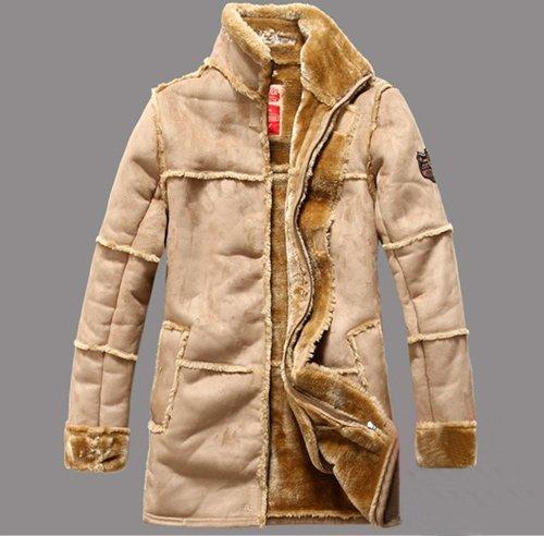 Leather winter jacket 2014 men warm men's clothing jaqueta de couro masculina with fur vintage long coat the new arrival FLM094