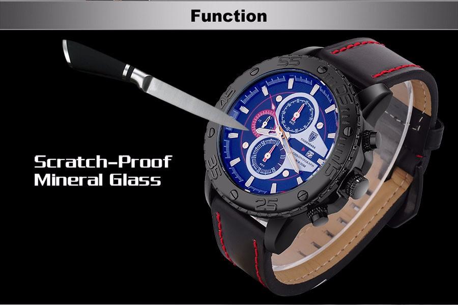 2016 TIGERSHARK популярный бренд световой красный циферблат часов мужчины спорт хронограф 30 М водонепроницаемый дата wristwatche натуральной кожи