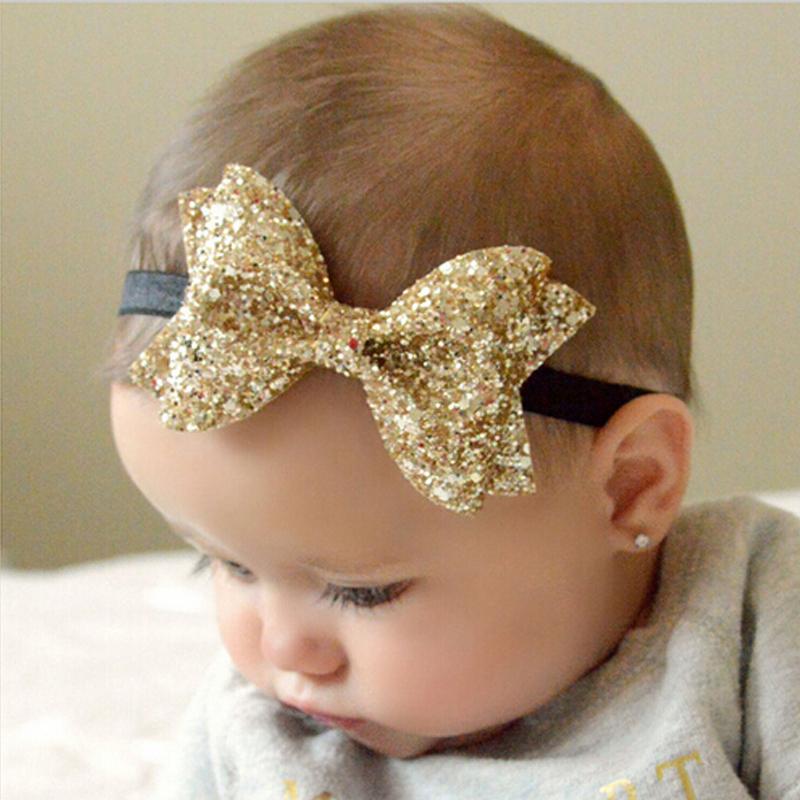 TWDVS Metallic Messy Big Bows Newborn Headband kids Cloth Turban Knot Hair Bands Wrap Hair Accessories h428(China (Mainland))