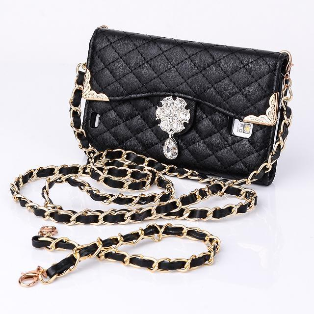 Flip leather handbag Diamond lattice Case for Samsung galaxy S2 I9100 wallet case with chain waterproof free shipping(China (Mainland))