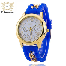 7 Color Women Fashion Slim Gold Plated Rubber Stainless Steel Analog Quartz wrist watches Unisex Dress Wristwatch For Gift C0264