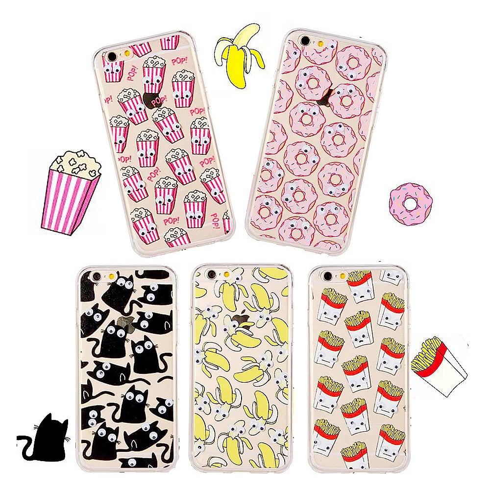 Newest Movement Of Eyes Black Cat Banana Pop Popcorn Fries Donuts Design Funda Case For Apple Coque Iphone 6 6 Plus Capa Para(China (Mainland))