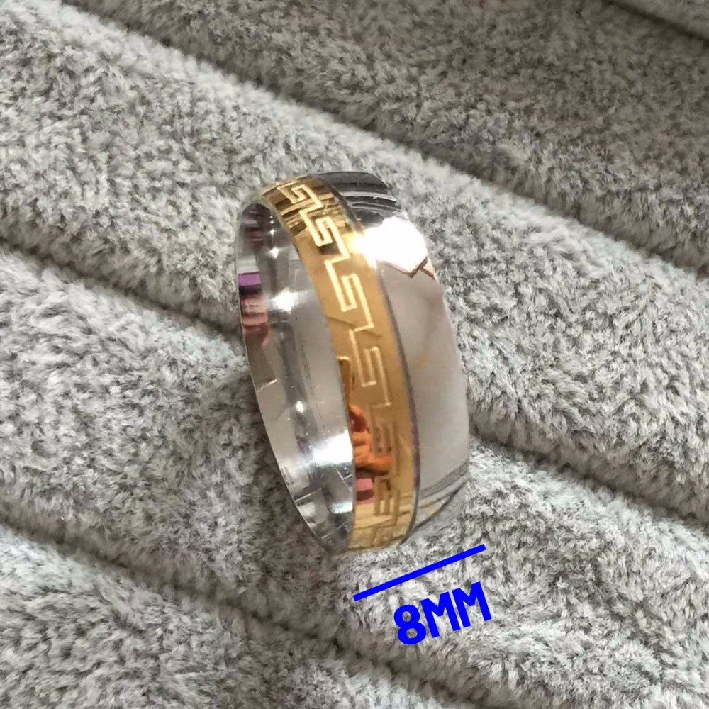 2015 new Brand Luxury large 8mm 18K silve gold rings 316L Stainless Steel rings for men women jewelry(China (Mainland))