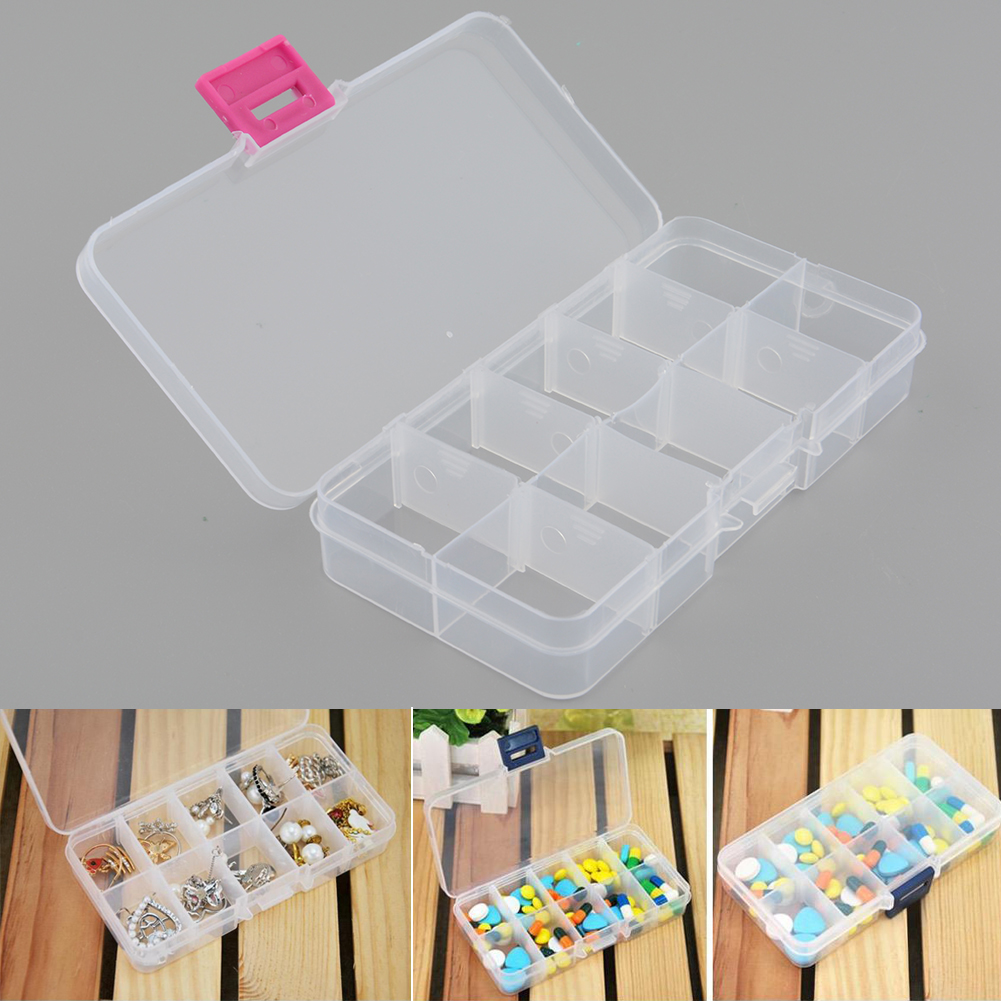 2pcs Plastic 10 Slots Compartment Adjustable Jewelry Necklace Clear Storage Box Case Holder Craft Organizer Hot(China (Mainland))