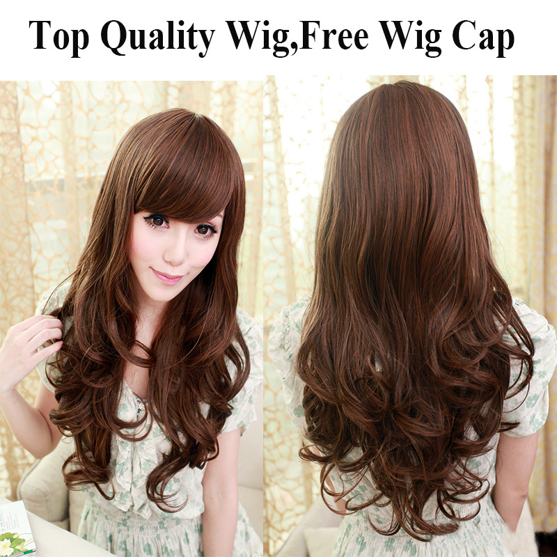 1PC+Free shipping Fashion Synthetic Hair Wigs Long curly Big Wave Dark Brown Color wigs for black women edt spray harajuku wigs(China (Mainland))