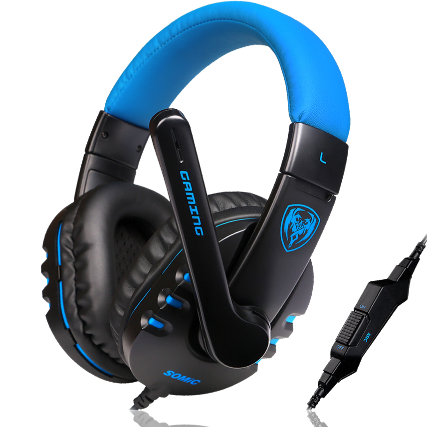 Somic G923 Stereo Surrounded Sound Game Headset Over Ear Gaming Headphone Headband with Mic Volume Control