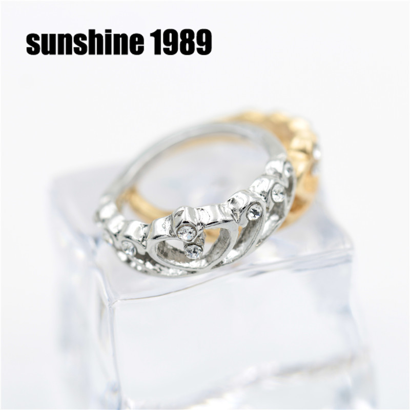 Sunshine vintage hollow out royal crown gold and silver ring for women gift fashion wedding bands J059(China (Mainland))