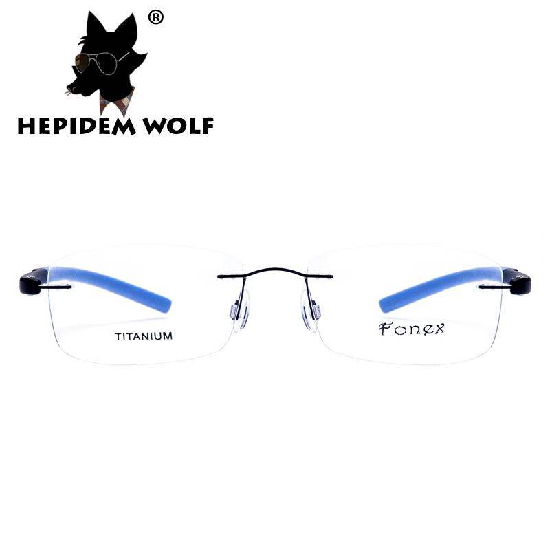 2016 Fashion Square Myopia Rimless Glasses Memory Eyeglasses Optical Frame Ultra Light TR90 Titanium Eyewear H8202 HEPIDEM WOLF(China (Mainland))