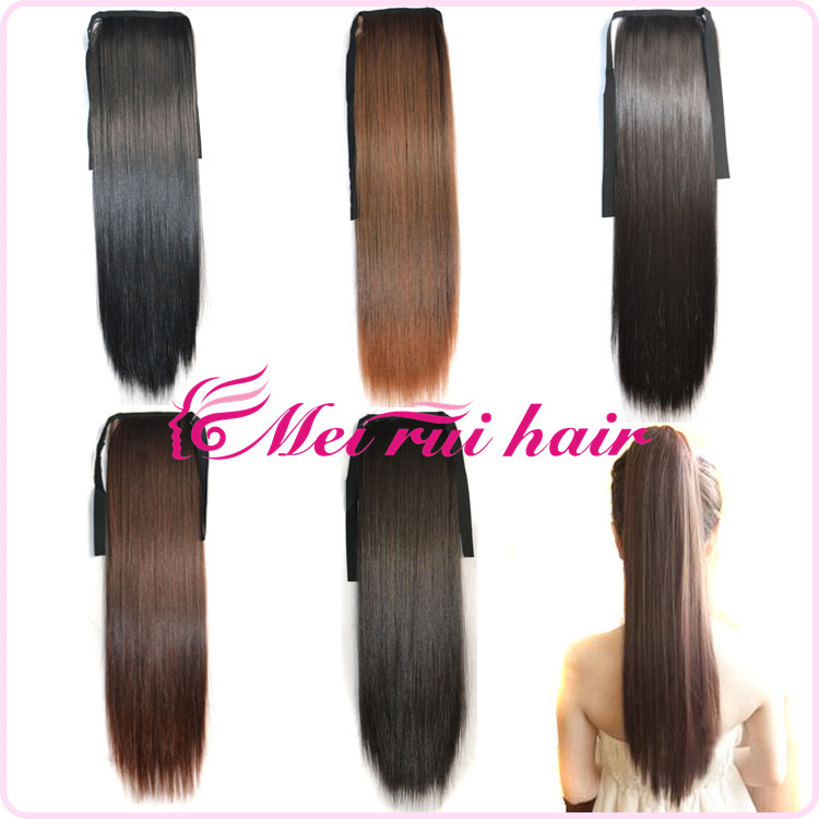 Buy Synthetic Ponytail Hair Extensions Long Curly Brown Black Clip Pony Tail Claw Extension