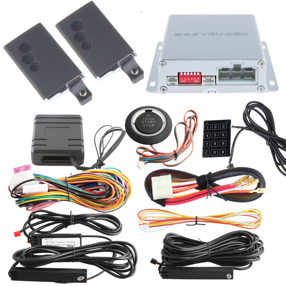 Remote engine start PKE car alarm system with push start stop button, immobilizer bypass and remote lock unlock cars 433.92MHZ(China (Mainland))