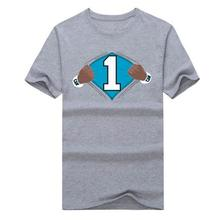 2016 DIY Super Cam Newton #1 Cheering Fans Live Audience brand futbol Jersey Short Sleeve T Shirt Man Casual football(China (Mainland))