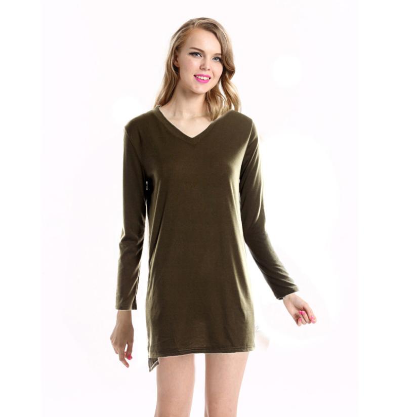 Hot Marketing 2015 Woman Long Sleeve Side-Slit Two Pockets V-Neckline Longline Tops Shirt Jul20(China (Mainland))