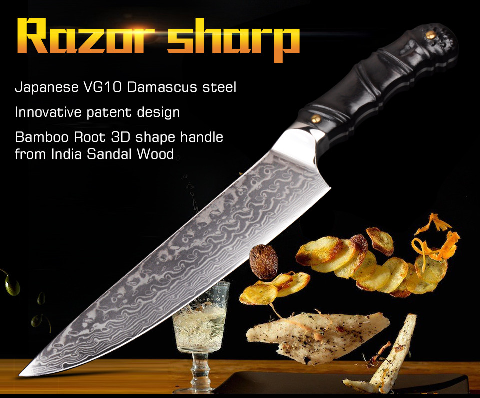 "Buy New Arrival Japanese Damascus kitchen knife 8""  Japan VG10 chef filleting knives 3D Shape patent design Natural Sandal cheap"
