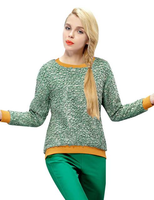 ELF SACK Модный brand 2015 winter Повседневный Свободный Женщины Цвет block О-образным ...