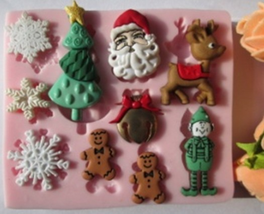 snowflake Father Christmas trees snowman deer fondant molds,silicone mold soap,candle moulds,sugar craft tools,chocolate mould(China (Mainland))