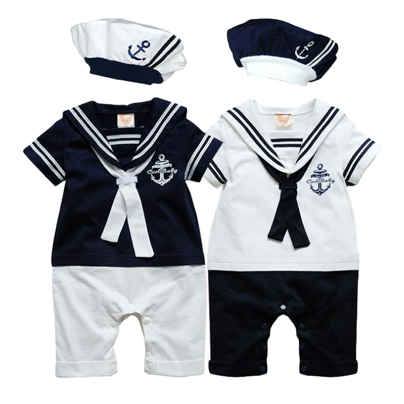 New Summer navy style short-sleeve Newborn baby romper kids boys girls romper+hat set baby boy clothes sailor suit tuxedo romper()