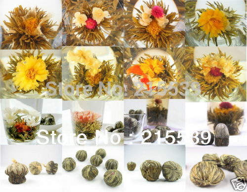 [GRANDNESS] 20 pcs Different kinds Chinese Blooming Flower Tea 100% Handmade Artistic Blossom Flower Tea ball Green Vacuum Pack(China (Mainland))