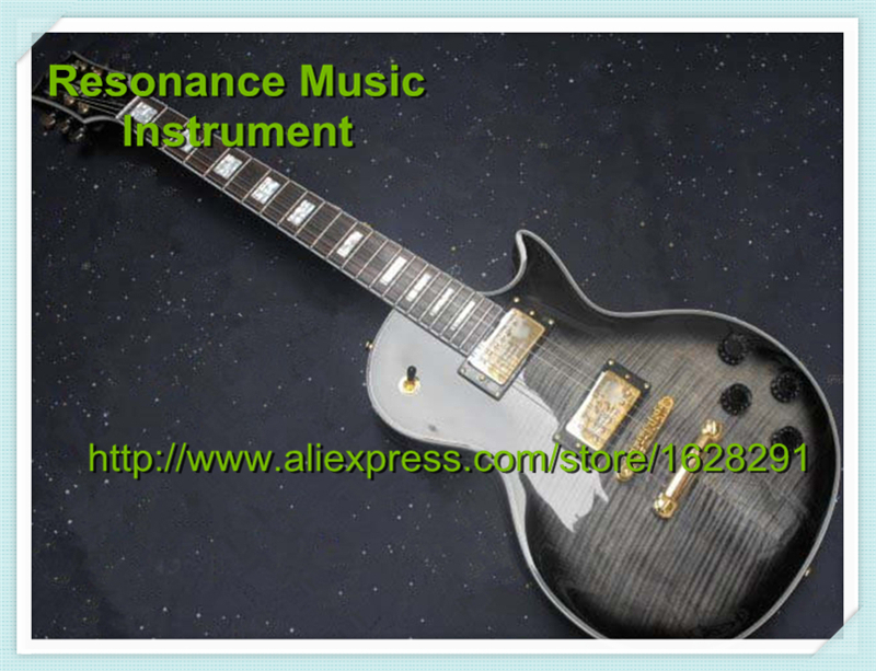 Top Selling Vintage Gray Tiger Grain Golden Hardware LP Model Electric China Guitars Body & Kits Left Handed Custom Available(China (Mainland))