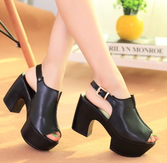 ENMAYER White Black 2014 New arrive open toe summer womens high-heeled sandals woman sexy punk shoes party shoes<br><br>Aliexpress