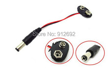Free shipping! Experimental 9V battery snap power cable to DC 9V clip male line battery adapter for arduino uno r3