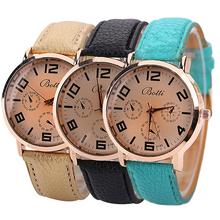 Men ' s de la mujer dorado reloj análogo de cuarzo Dial redondo caja de la correa de cuero de imitación