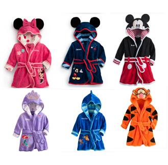 1set 2014 new baby girl/boy cartoon Pajamas Micky Minnie Mouse Bathrobes Robe kids soft Bath towel 6 color - TOP BABY store