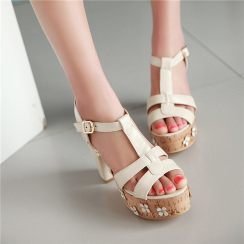 2015 Summer Style New Womens Open Toe Floral Chunky Block High Heels Platform Cut T-Strap Sandals Shoes 4 Color US4.5-8