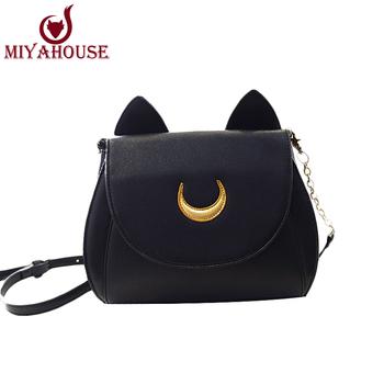Japanese Harajuku Style Fashion Women Messenger Bags Lady Sailor Moon Bag Women Cat Handbag Luna Moon Women Cross Body Bag Lady