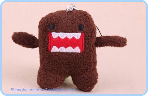 Kawaii Japan DOMO KUN Plush Stuffed TOY DOLL ; Mini 4*3CM Mobile Cell Phone Strap ; Keychain & BAG Pendant(China (Mainland))