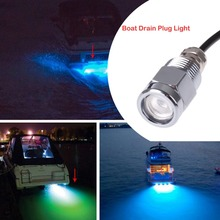 Silver Underwater Lights Waterproof  Boat Drain Plug Led Blue Light For Fishing Swimming Diving Protective Tube 9W IP68(China (Mainland))