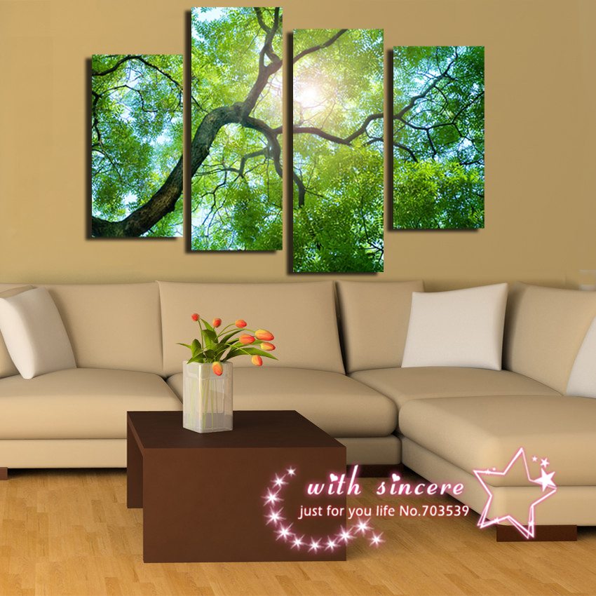 No Frame Big Green Style Tree So Handsome In Heart under The Sun 4panels/a set Canvas Painting Wall Art Pciture For Living Room(China (Mainland))