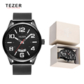 Men Watches Quartz Wristwatches Stainless Steel Mesh Watchband Fashion Mens Watch Brand Tezer Analog Quartz Watch