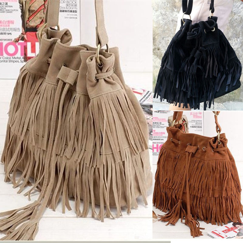 2015 Hot Selling Women's Faux Suede Fringe Tassel Shoulder Bags Women Handbags Messenger Bag Drawstring Bucket 528 - iFashion Forward store