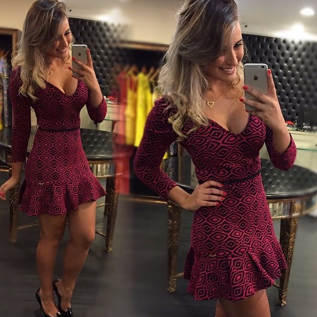 2015-vestidos-de-fiesta-Women-Long-Sleeve-Summer-Dress- -Printed-Casual-Special-Occasion-party-mermaid