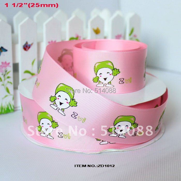 "(20yards/lot) grosgrain ribbon pink green girl cartoon painted w/spool 38mm,1 1/2""-DZ1012(China (Mainland))"