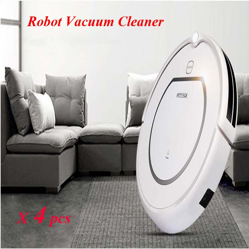 4pcs/lot Home Intelligent Robot Vacuum Cleaner Wet and Dry Clean+HEPA Filter,Remote Control,Self Charge, ROBOT ASPIRADOR(China (Mainland))