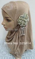 Fashion New Multicolor Rhinestone Design With Flower High Quality QMilch Muslim Hijab & Scarves Free Shipping