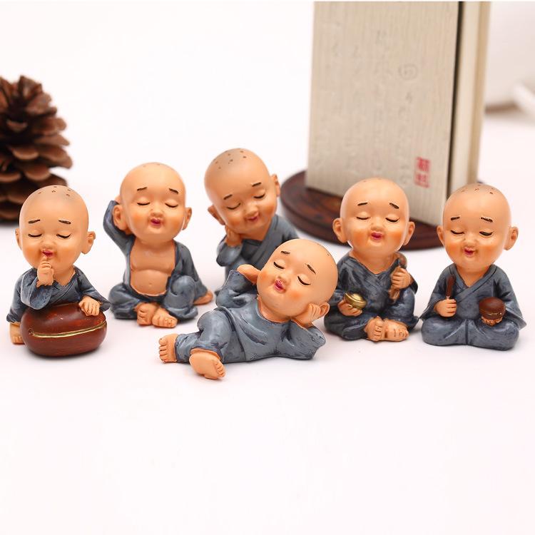 6 pcs Buddha Dolls Rushed Kawaii Figure Crafts Kung Fu Wu Shu Cute Little statue Novices Decorative Home Accessories Ornaments(China (Mainland))
