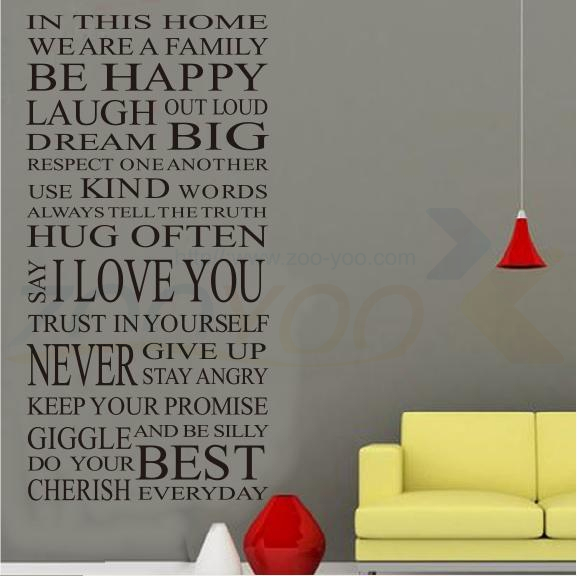 House rules happy home decor creative quote wall decal for Home decor quotes on wall