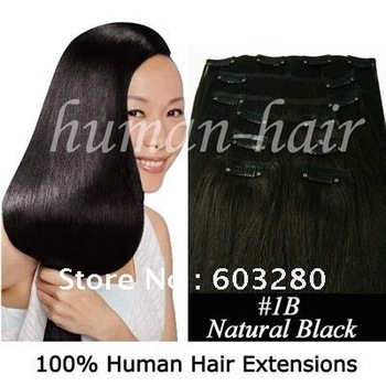 """15""""18""""20""""22""""24"""" Indian Remy Clip ins hair extension #1B Off black/NOT very black color 36g,70g,80g,90g,100g,120gram"""
